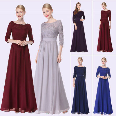 Women Lace Long Sleeve Holiday Dresses V Neck Long Maxi Evening Prom Gown 08412
