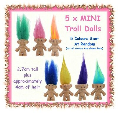 5 x MINIATURE mini troll doll figures - 2.7cm tall plus hair - cake toppers
