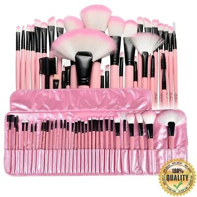 32pcs Professional Pink Cosmetic Soft Eyebrow Shadow Makeup Brush Set Kit+ Pouch