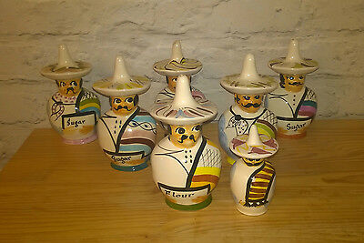 Rare Vintage Toni Raymond Mexican Salt , Flour And Sugar Shakers Joblot