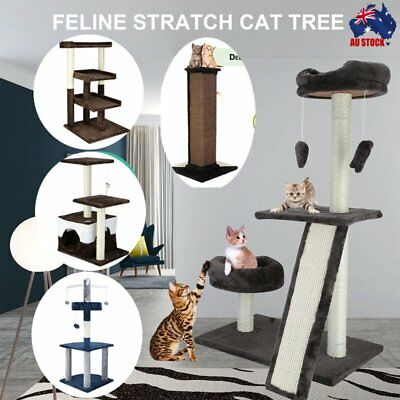 Cat Scratching Tree Post Scratcher Playing Pole Toy House Furniture Multi Level