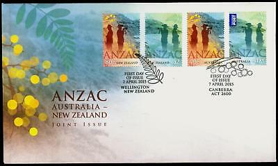 Australia 2015 First Day Cover FDC - ANZAC: Australia-New Zealand Joint Issue.
