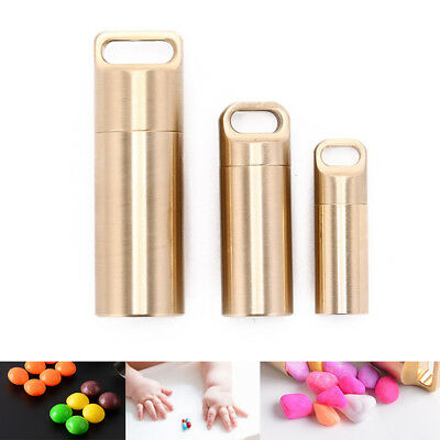 waterproof outdoor metal survival pill match edc case box container bottle  SG