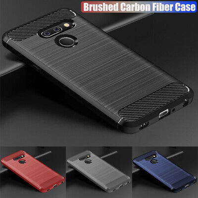 For LG G7/ G7 Plus ThinQ Q7 Shockproof Silicone Rubber Leather Back Case Cover