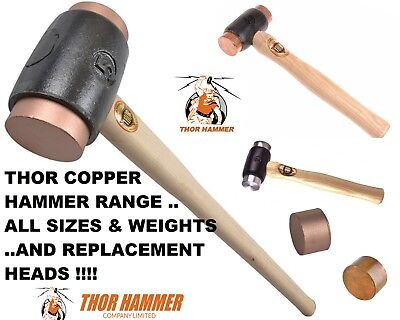 THOR COPPER HAMMER Metal Work Mallet ALL SIZES , WEIGHTS & REPLACEMENT HEADS