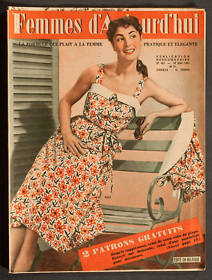 'femmes D'auourd'hui' French Vintage Magazine Sunshine Dress Pattern 30 May 1953