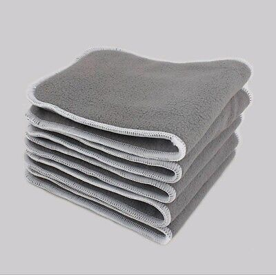 New 5 Layer Charcoal Bamboo Microfiber Cloth Diaper Insert Nappy Liners, 5 Pack