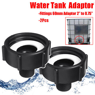 """2 x 1000L IBC 2"""" (60mm) To 3/4"""" (20mm) Water Tank Garden Hose Adapter Fittings"""