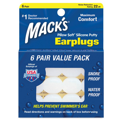Macks Pillow Soft Moldable Silicone Putty Earplugs 6 Pairs x 3 (18 Pairs)