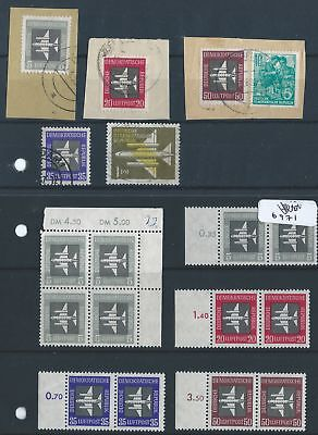 East Germany 1957 Mi 609-613 Airmail Stamps MNH/used on piece
