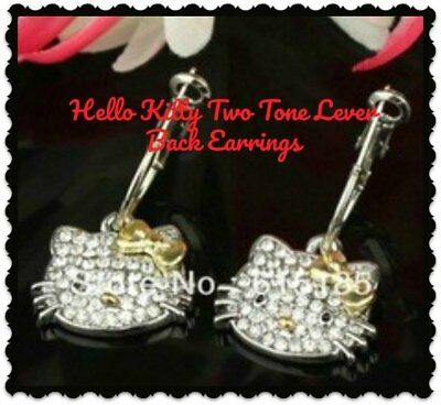 88bfedf95 Hello Kitty Two Tone Gold Silver Rhinestone 925 Silver Lever Back Drop  Earrings