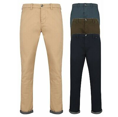 Mens Boys Chino Trousers Pants Cotton Slim Fit Stretch Sizes Casual New Long