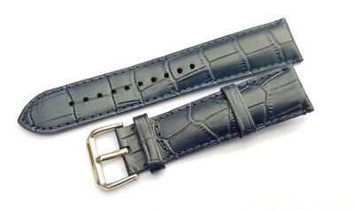 Genuine Leather Watch Strap Band for EMPORIO ARMANI Watches 22 mm. BLUE.(AR-6)