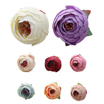 10Pcs Small Rose Bud Heads Artificial Flower Fake Plant Wedding Party Decor Beam