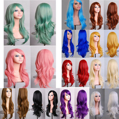 Womens Full Long Fancy Dress Curly Wigs Cosplay Costume Ladies Wig Party Uk