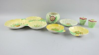 Lot of 7 Carlton Ware Green Poppy and Yellow Buttercup Pieces