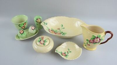 Lot of 9 Carlton Ware Yellow/Green Dog Rose Pieces Bowl, Salt/Pepper, Pitcher