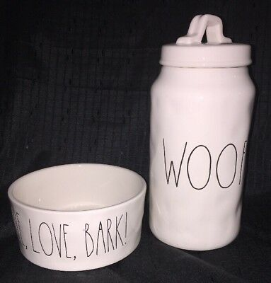 Rae Dunn - Ceramic WOOF Treat Canister and LIVE, LOVE, BARK Dog Bowl New