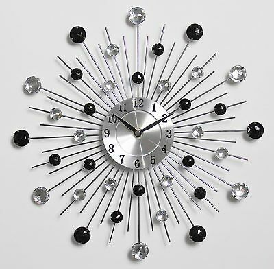 33Cm Handcrafted Diamante Beaded Jeweled Sunburst Silver Black Wall Clock 125