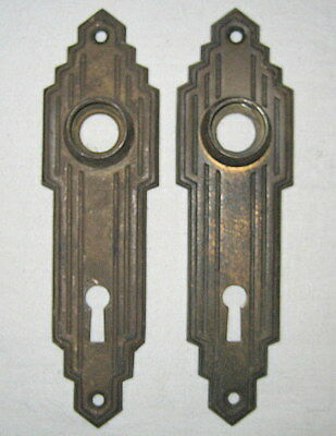 Pair of Steel Art Deco Key Hole Escutcheon Door Plates