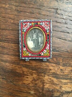 Vintage Antique Italian Micro Mosaic Picture Frame With Photo Ladies Italy