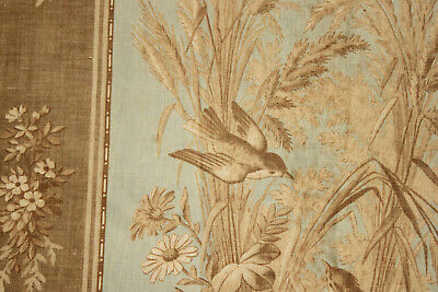 Antique French FADED bird floral c1870 printed cotton fabric pale blue and tan