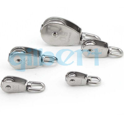 15-100mm Swivel Stainless Steel Silver Wire Rope Single-sheaved Pulley Roller