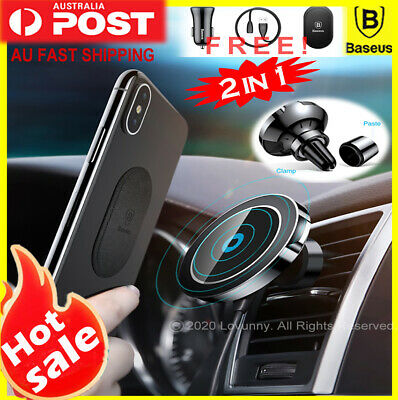 Baseus Qi Wireless Charger Magnetic Car Phone Holder iPhone XS 11 Pro Samsung