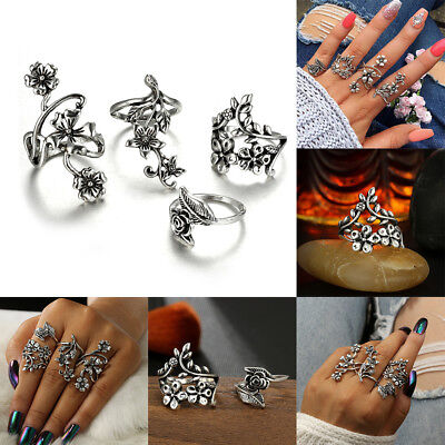 Chic Women Vintage Rose Rings Antique Silver Color Knuckle Wedding Jewelry Gift