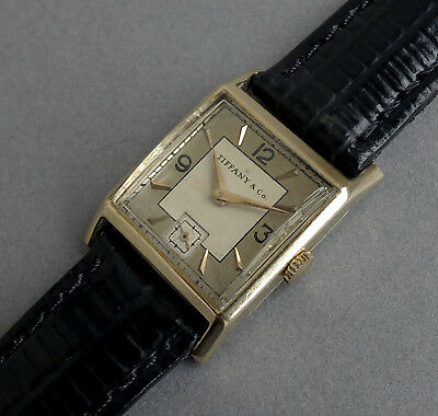 TIFFANY/JAEGER LECOULTRE 14K Solid Gold Art Deco Gents Vintage Watch 1945