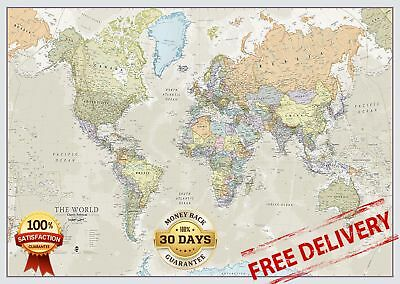 Huge Classic World Map Big Giant Wall Print Large Wallpaper Front Laminated Map