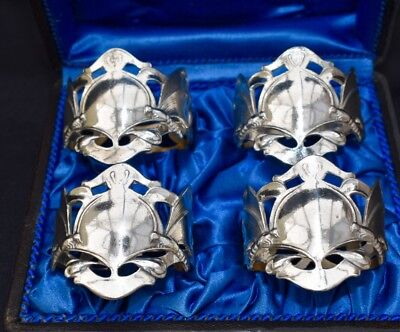 WMF Antique Edwardian Boxed Set of 4 Art Nouveau Silver Plated Napkin Rings