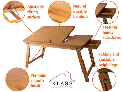 Portable Bamboo Laptop Computer Notebook Desk Bed Sofa Tray Stand Foldable Tray