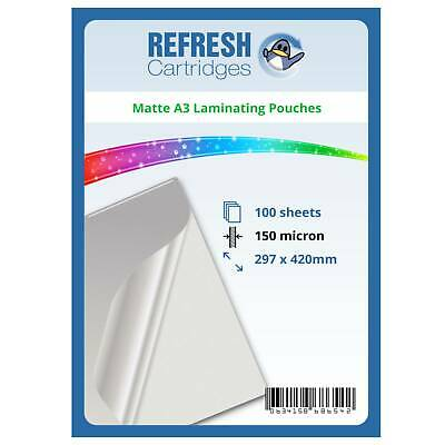 Matte Laminating Pouches A3 150 Micron Pack of 100 Sheets