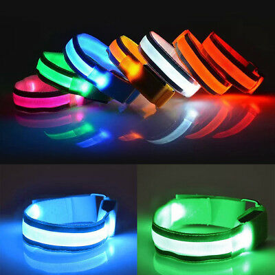 LED Light-Up Flashing Safety Reflective Arm Band For Cycling Running Jogging
