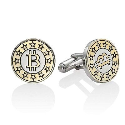 Engraved Cufflinks Bitcoin - Silver 18K Gold Plated - Customised Mens Cufflinks