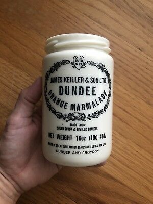 Vintage Dundee Orange Marmalade Jar, Milk Glass Crock, James Keiller & Sons