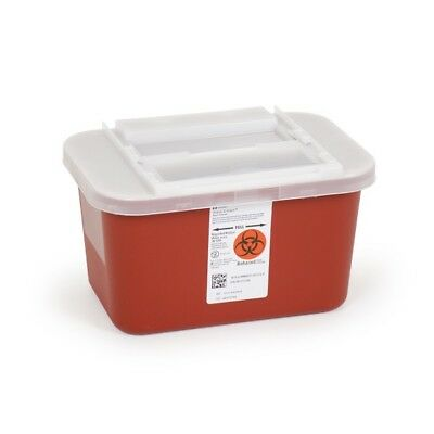 1 Gallon Sharps Container Multipurpose Biohazard Disposal, Red, w Lid - 12 PACK!