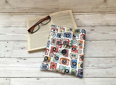 Handmade Book Sleeve, Fabric Book Cover, Photography Gift, Camera Lover Gift,