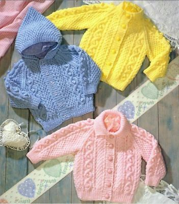 Knitting Pattern Baby/Child's Aran Cable Cardigans 45-60 cm   (189)