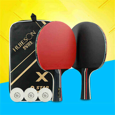UK 1 Pair Table Tennis Rackets Set Paddle Bats + 3 Ping Pong Balls for Training