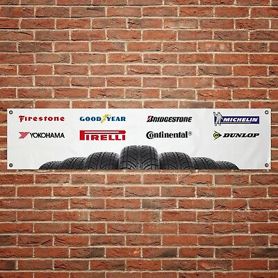 Tyre Logos Banner Garage Workshop Car Motorcycle PVC Sign Trackside Display Tire