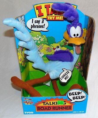 New 1994 Tyco Looney Tunes Talking Road Runner Plush Sealed Works
