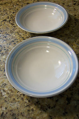 Fascino by Yamaka Stoneware Hand Decorated Japan CEREAL BOWLS set of 2 blue