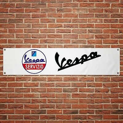 Vespa Servizio Banner Garage Workshop Motorcycle PVC Sign Moped Scooter Display