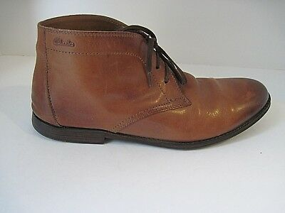 d1b2b111 MEN'S CLARKS BROWN Distressed Leather Lace Up Ankle Boots Size 11M ...