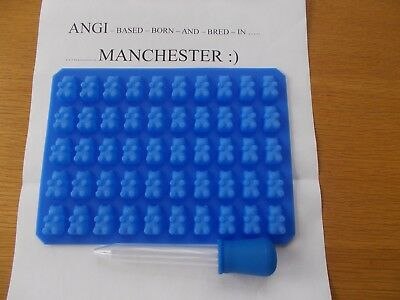 50 Cavity Mini Silicone Gummy Bear Sweet Mould Chocolate  and dropper BLUE