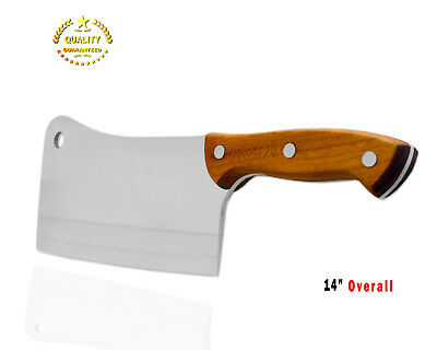 """14"""" Professional Heavy Duty Meat Cleaver/Chopper/Butcher Knife-Solid Wood Handle"""