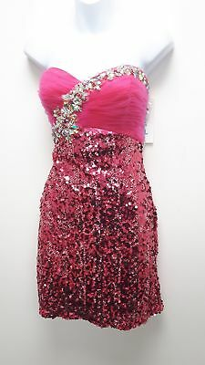 BNWT Glam Gurlz Hot Pink Party Cocktail Dress Sequin Xmas Party Size 10 #834