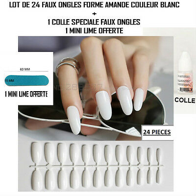 Lot 24 Capsules Tips Faux Ongle Amande Blanc Gel Uv Vernis Colle Lime Ong052